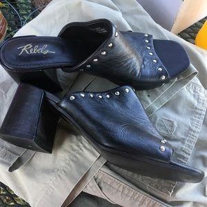 Rebels size 39 black soft leather slide heels